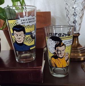 Two Star Trek Drinking Glasses Captain Kirk, Bones
